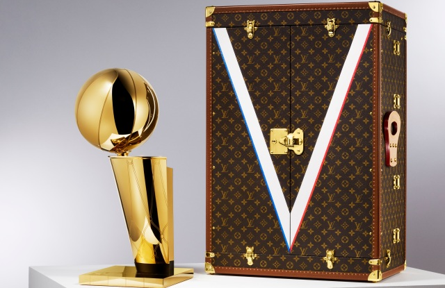 The Louis Vuitton travel case for the NBA's Larry O'Brien Trophy.