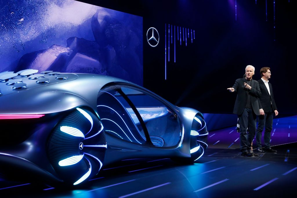 Movie director James Cameron, second from right, who directed movies such as Avatar, talks about the Mercedes-Benz Vision AVTR concept car at the Daimler Keynote as Cameron is joined on stage by Ola Kallenius, right, Chairman of the Board of Management Daimler AG and Mercedes-Benz AG, before the CES tech show, in Las VegasGadget Show Daimler, Las Vegas, USA - 06 Jan 2020