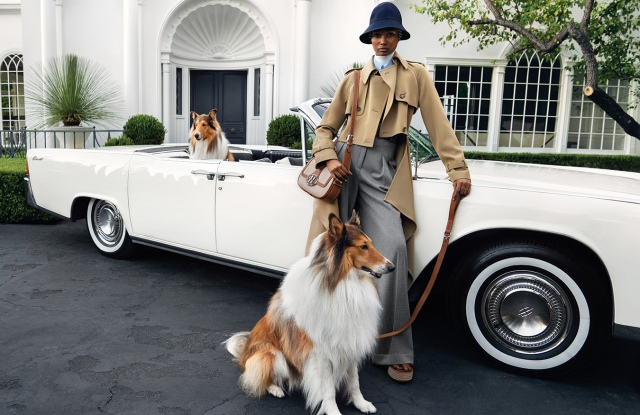 """For spring, the Michael Kors Collection ad campaign was photographed by Inez van Lamsweerde and Vinoodh Matadin. Shot on the grounds of a Beverly Hills estate, the campaign features models Ugbad Abdi and Rianne Van Rompaey. """"My spring collection is a celebration of the best of American style,"""" said Michael Kors. """"The Collection campaign focuses on a mix of ease and glamour that is inherently American, and the layers of sophistication, irreverence and romance found in the images complement that juxtaposition."""" Crisply tailored separates and soft romantic dresses are featured. The global campaign breaks this month, with print ads running in spring issues worldwide. The images will also appear in digital outlets, as well as social media platforms and traditional outdoor media placement. — Lisa Lockwood"""
