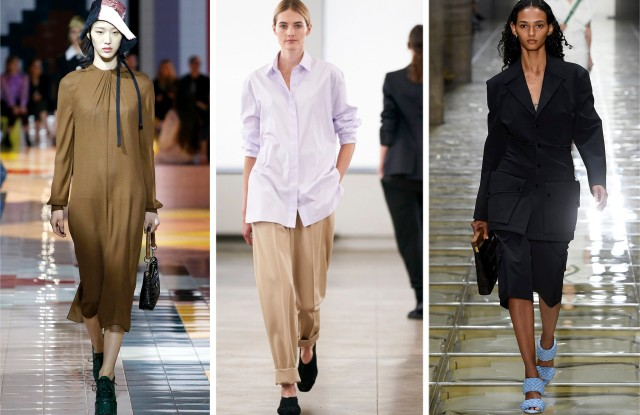 Minimalist looks in the spring 2020 collections of Prada, The Row and Bottega Veneta.