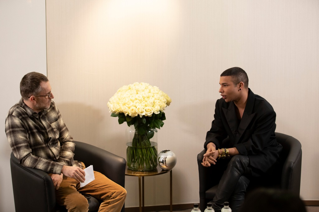 Loïc Prigent and Olivier Rousteing in conversation at Printemps.