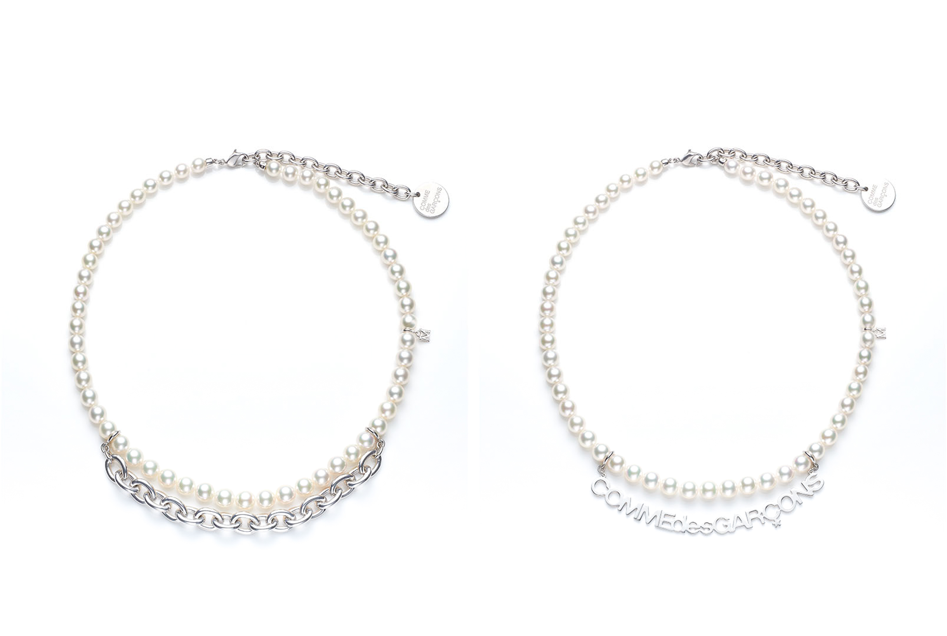 Necklaces from the collaboration between Comme des Garcons and Mikimoto.