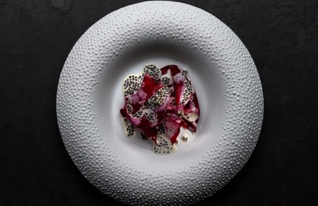 Salt crusted beetroot with garden caviar cream from Mirazur.