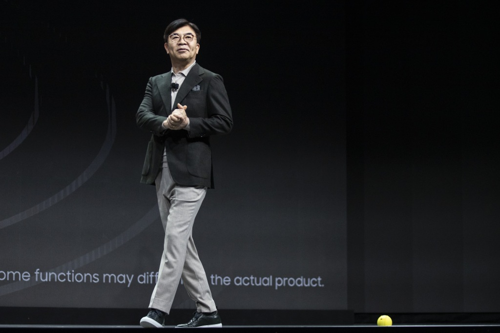 Samsung Consumer Electronics Division CEO and President Hyun-Suk Kim presents the Ballie robot (R, bottom) during the Samsung keynote at the 2020 International Consumer Electronics Show in Las Vegas, Nevada, USA, 06 January 2020. The annual CES, which takes place from 7-10 January, is a place where industry manufacturers, advertisers and tech-minded consumers converge to get a taste of new innovations coming to the market each year.Consumer Electronics Show - Keynote, Las Vegas, USA - 06 Jan 2020