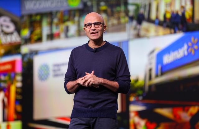 "Satya Nadella at NRF's ""Big Show"" on Sunday."