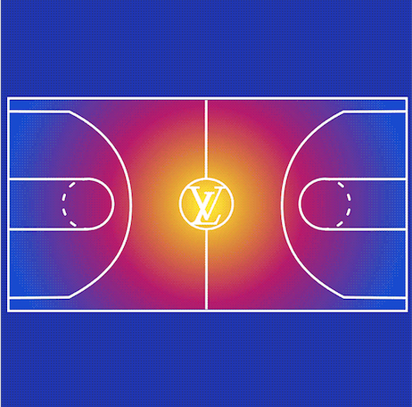 The graphic on the invitation for Louis Vuitton's cocktail to celebrate its partnership with the NBA.
