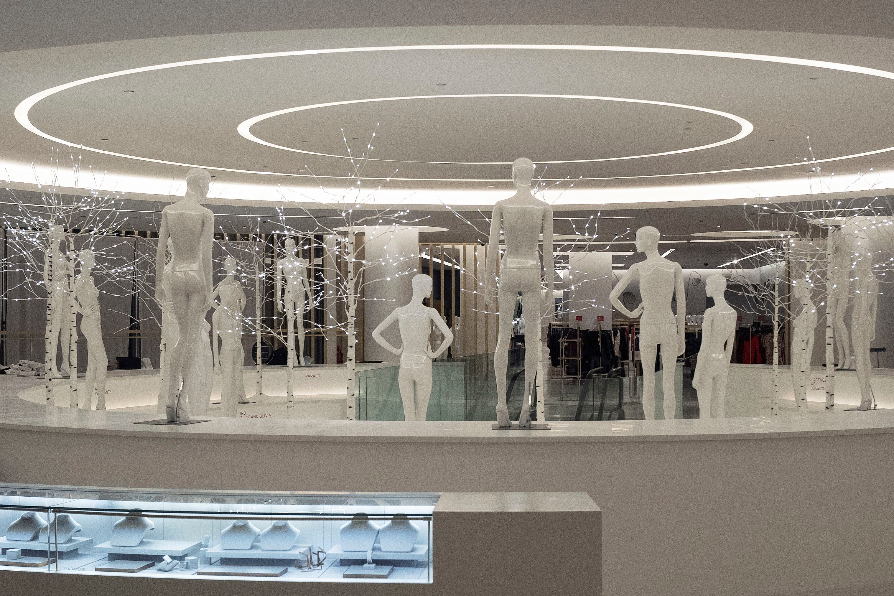 Mannequins and an empty display case are all that remain at the Saks Fifth Avenue women's shop at Brookfield Place, in New York. The shop closed on Jan. 5. Saks has a men's store in the downtown mall that will remain openSaks Store Closes, New York, USA - 08 Jan 2019