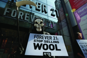 A member of People for the Ethical Treatment of Animals (PETA) protests outside a Forever 21 store in Seoul, South Korea, 30 October 2019. PETA is calling on all shoppers to steer clear of Forever 21 until the chain store stops selling wool.Campaign for animal rights in Seoul, Korea - 30 Oct 2019