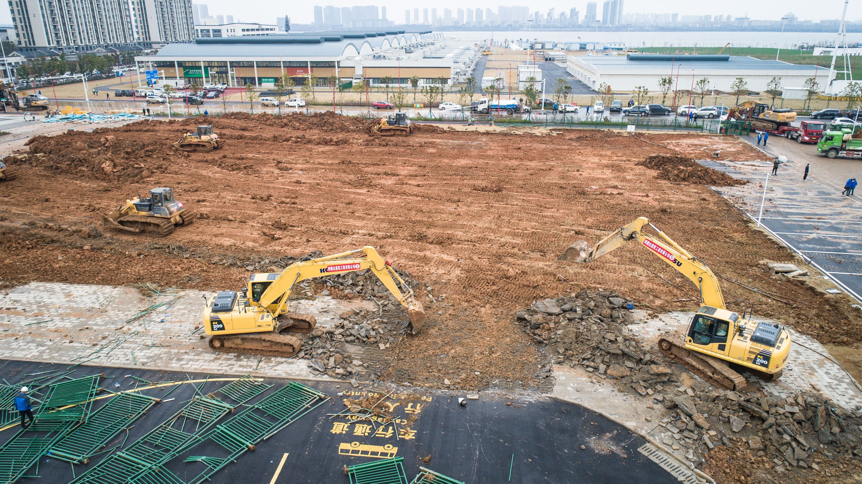 Construction site of Leishenshan hospital in Wuhan.