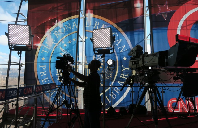 A technician adjusts a television camera before the start of the CNN Republican presidential debates at the Ronald Reagan Presidential Library and Museum in Simi Valley, CalifGOP 2016 Debates, Simi Valley, USA