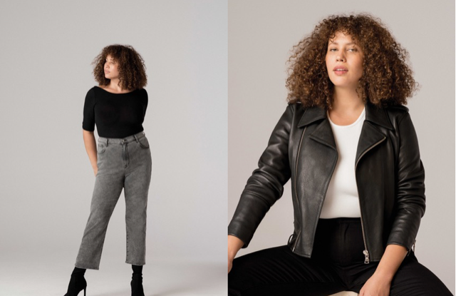 Two looks from J Brand's new inclusive sizing offering.