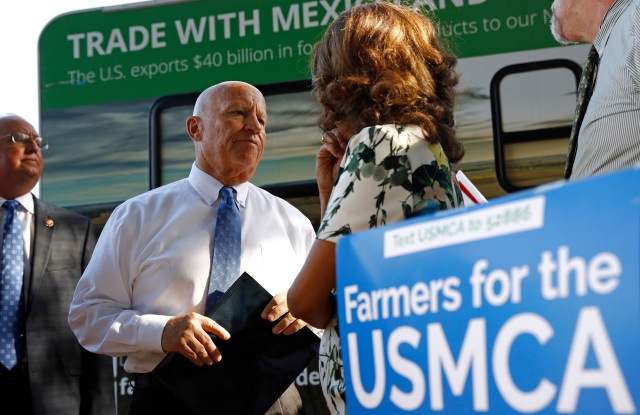 Rep. Kevin Brady, R-Texas, second from left, prepares to speak at a rally supporting passage of the U.S.-Mexico-Canada agreement on trade, on the National Mall in WashingtonUSMCA Rally, Washington, USA - 12 Sep 2019