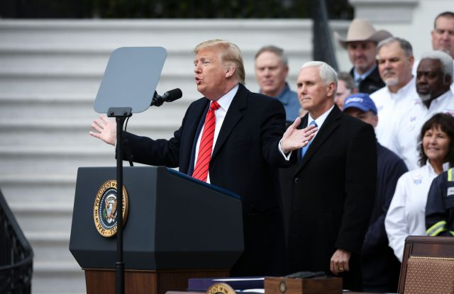 US President Donald Trump speaks during a signing ceremony for the United States-Mexico-Canada Trade Agreement (USMCA), on the South Lawn of the White House in Washington, DC, USA, 29 January 2020. The Trump administration says the revised North American Free Trade agreement will create six hundred thousand jobs. At right of Trump, US Vice President Mike Pence.US President Donald J. Trump participates in a signing ceremony for the United States-Mexico-Canada Trade Agreement (USMCA), Washington, USA - 30 Jan 2020