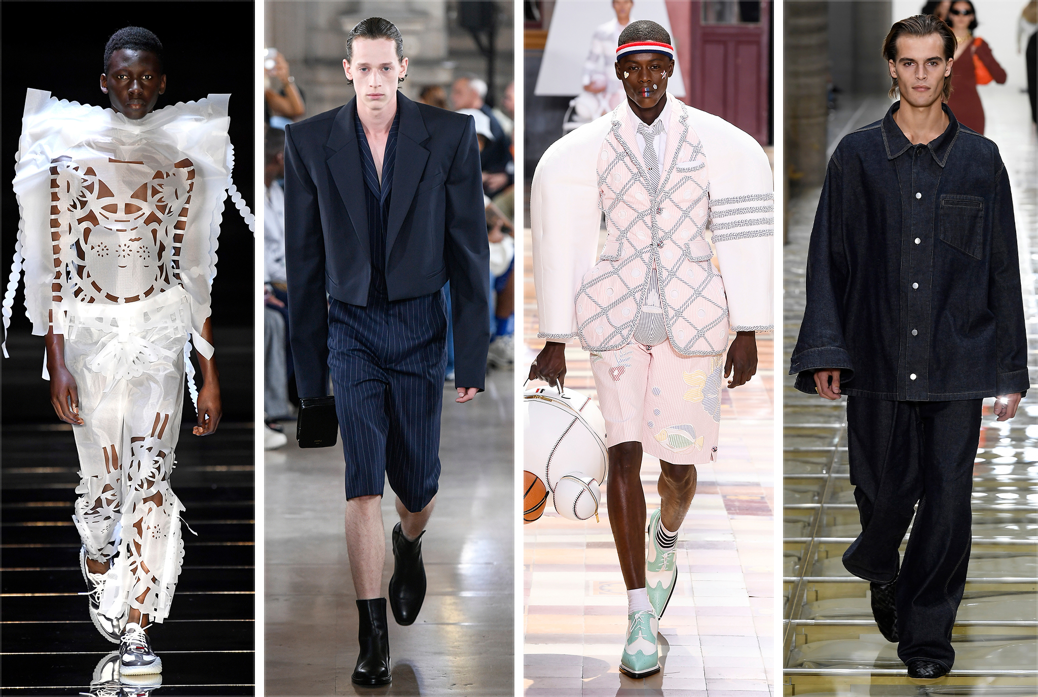 From Left: Craig Green, Juun.J, Thom Browne, and Bottega Veneta