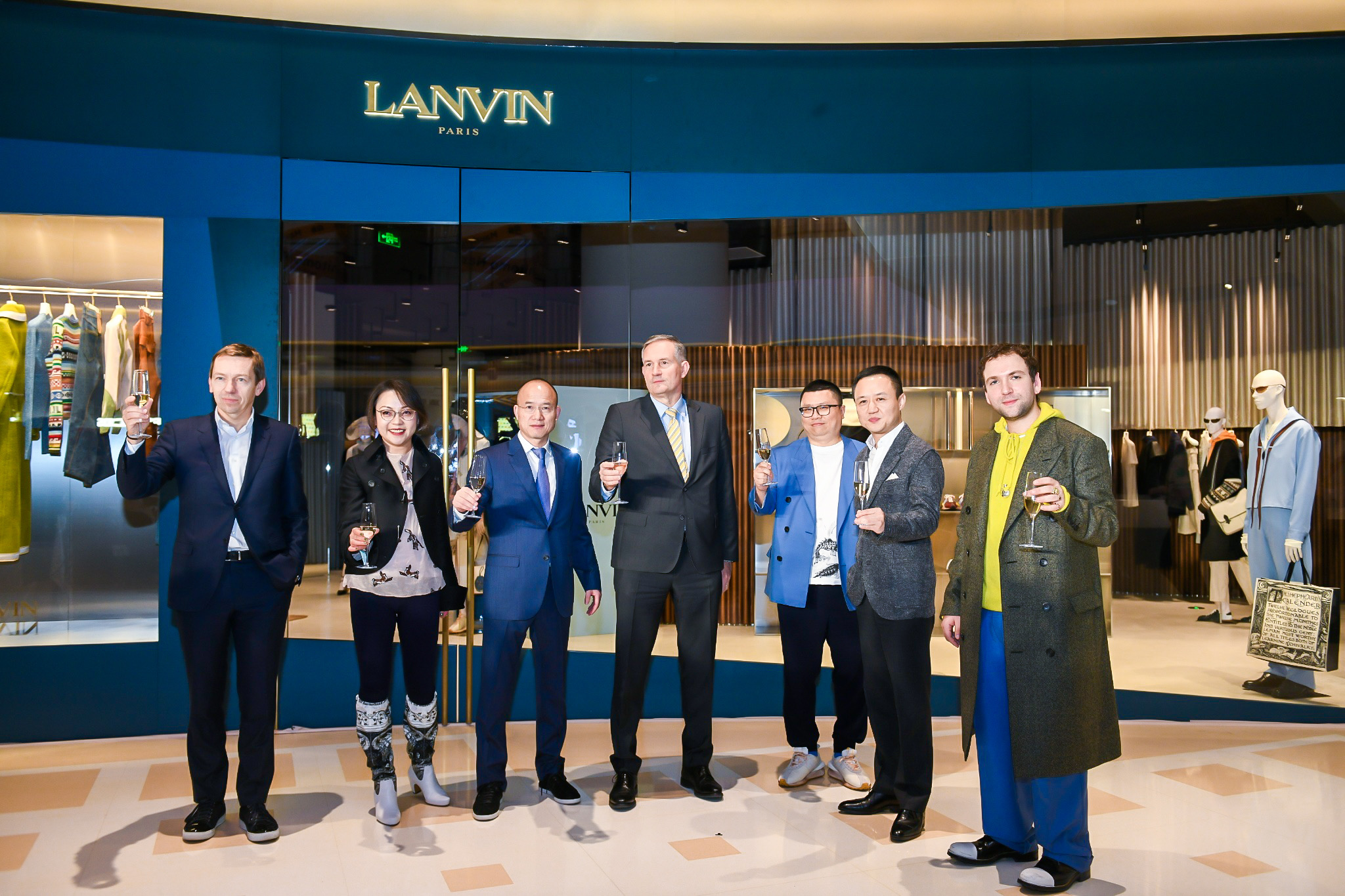 From left to right, Jean-Philippe Hecquet, Joann Chen, Guangchang Guo, Laurent Bili, Xiaoliang Xu, Jianhao Chen, and Bruno Sialelli at the Lanvin Shanghai flagship opening