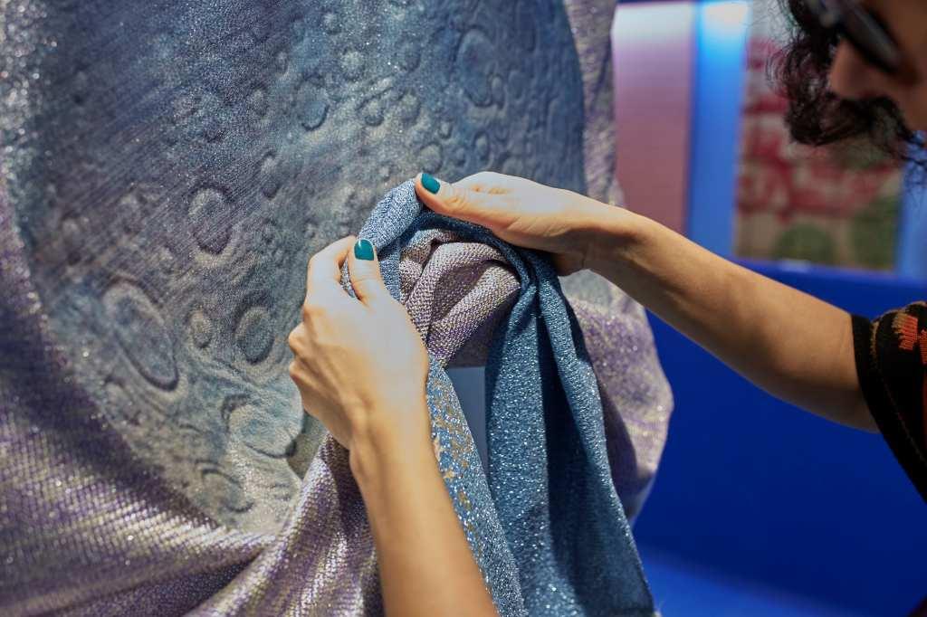 A new textile showcased at Pitti Filati's trend area.