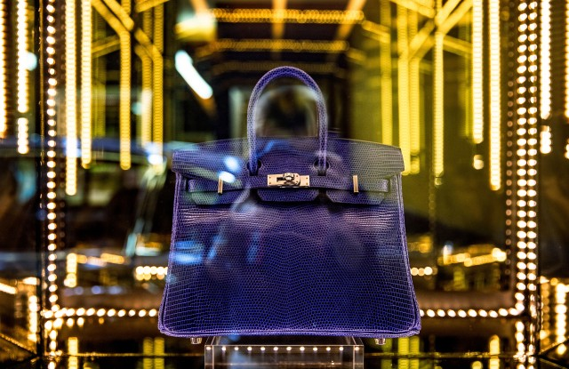 An Hermès exotic skin Birkin bag on view at Rally Road's museum in SoHo.