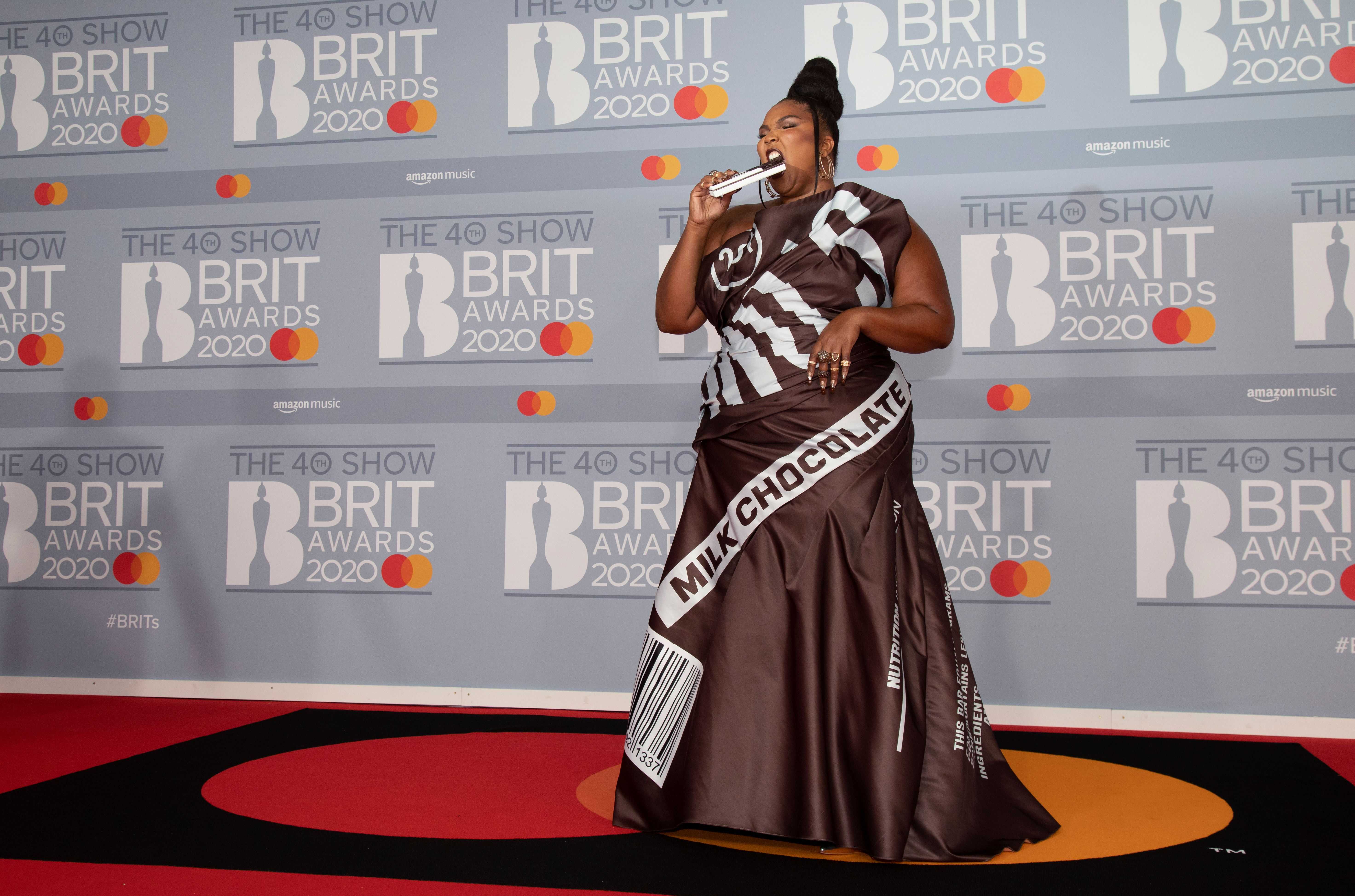 2020 Brit Awards Red Carpet: Lizzo in Moschino