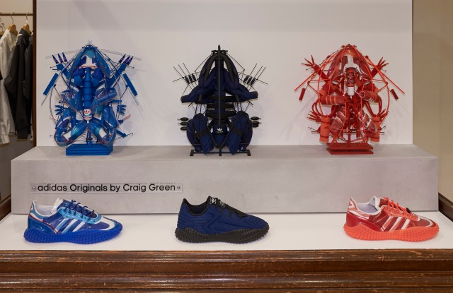 Craig Green's limited edition Adidas Originals sneakers alongside his sculptures made with their components.