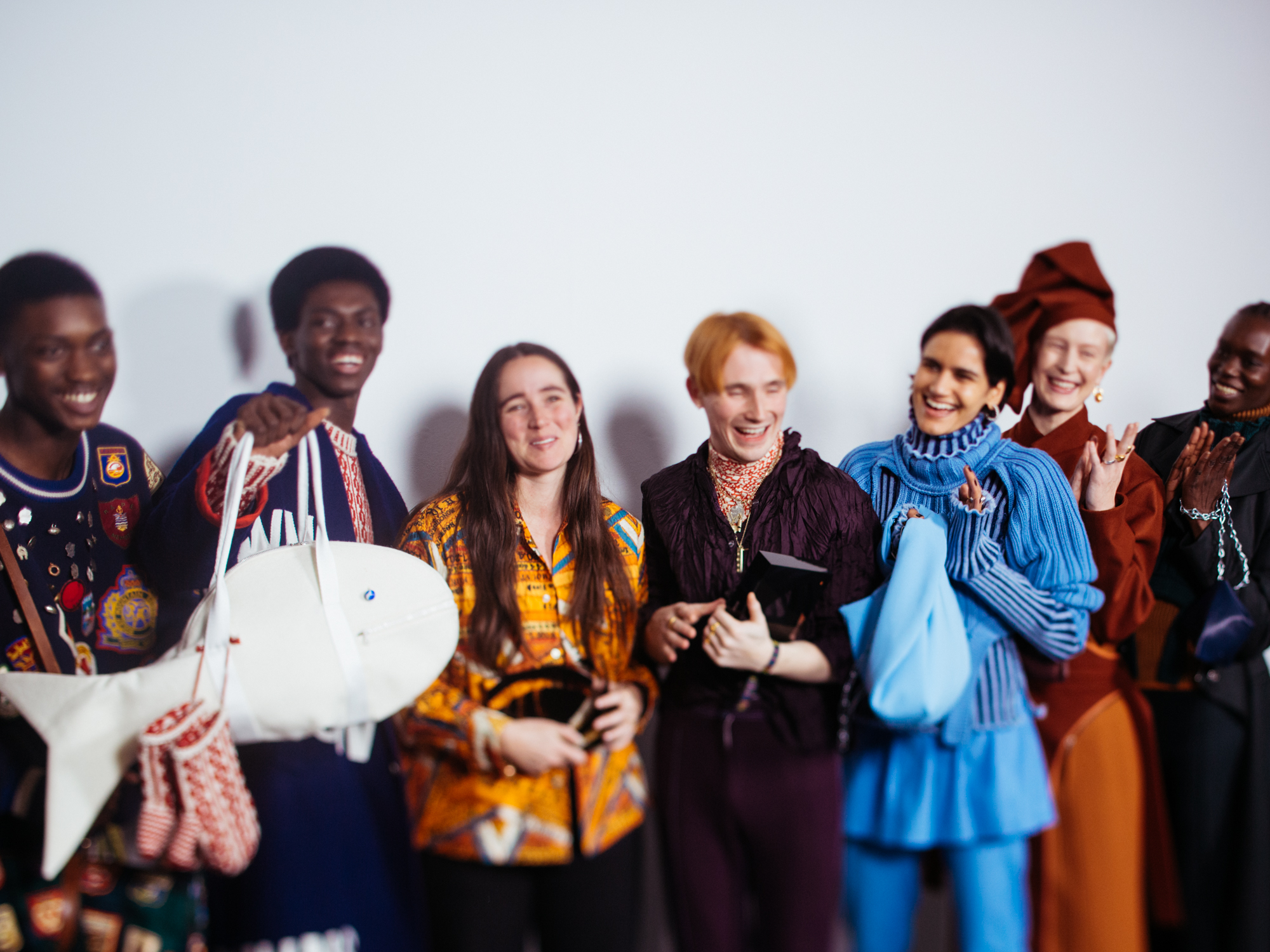 Winners of the International Woolmark Prize, Emily Bode and Richard Malone with models