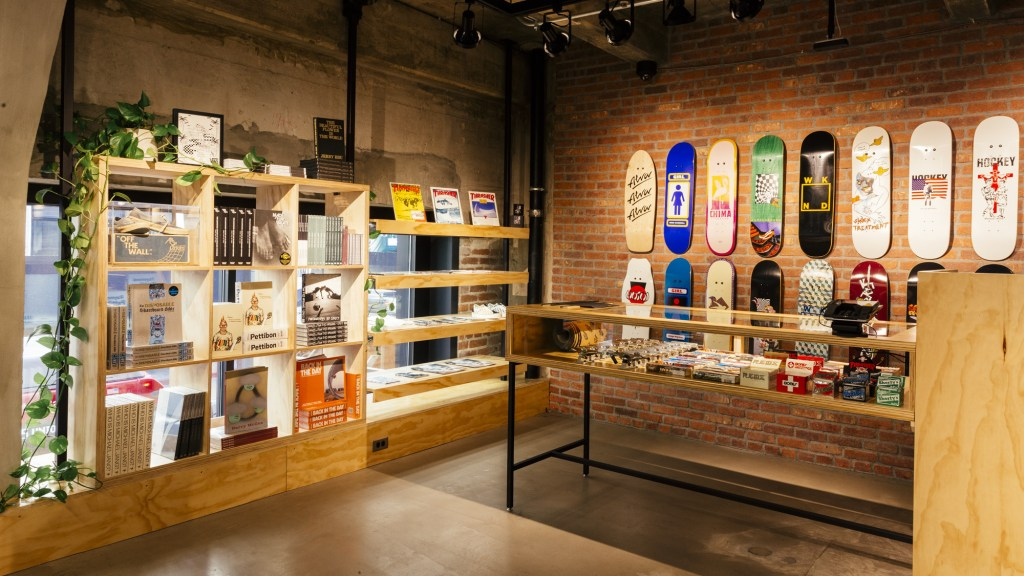 With LA's skateboarding culture, a dedicated skate shop is located inside the DTLA store.
