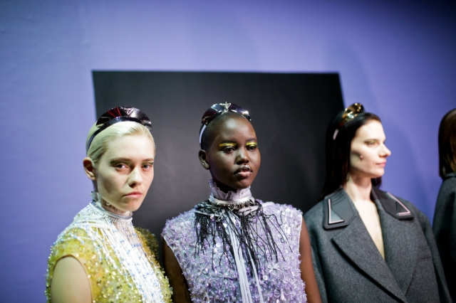 Backstage at Prada RTW Fall 2020