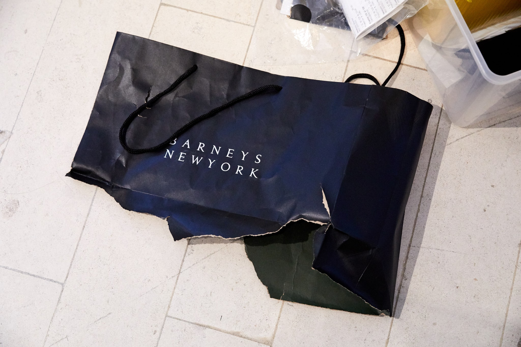 A ripped bag on the floor of Barneys this week.
