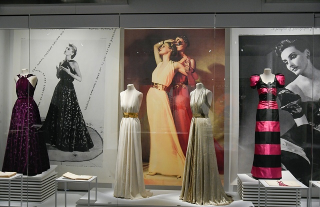 Dresses by Madeline Vionnet and Elsa Schiaparelli are shown next to styled photos.