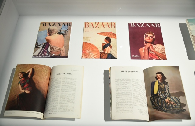 A case showing magazine covers and layouts.