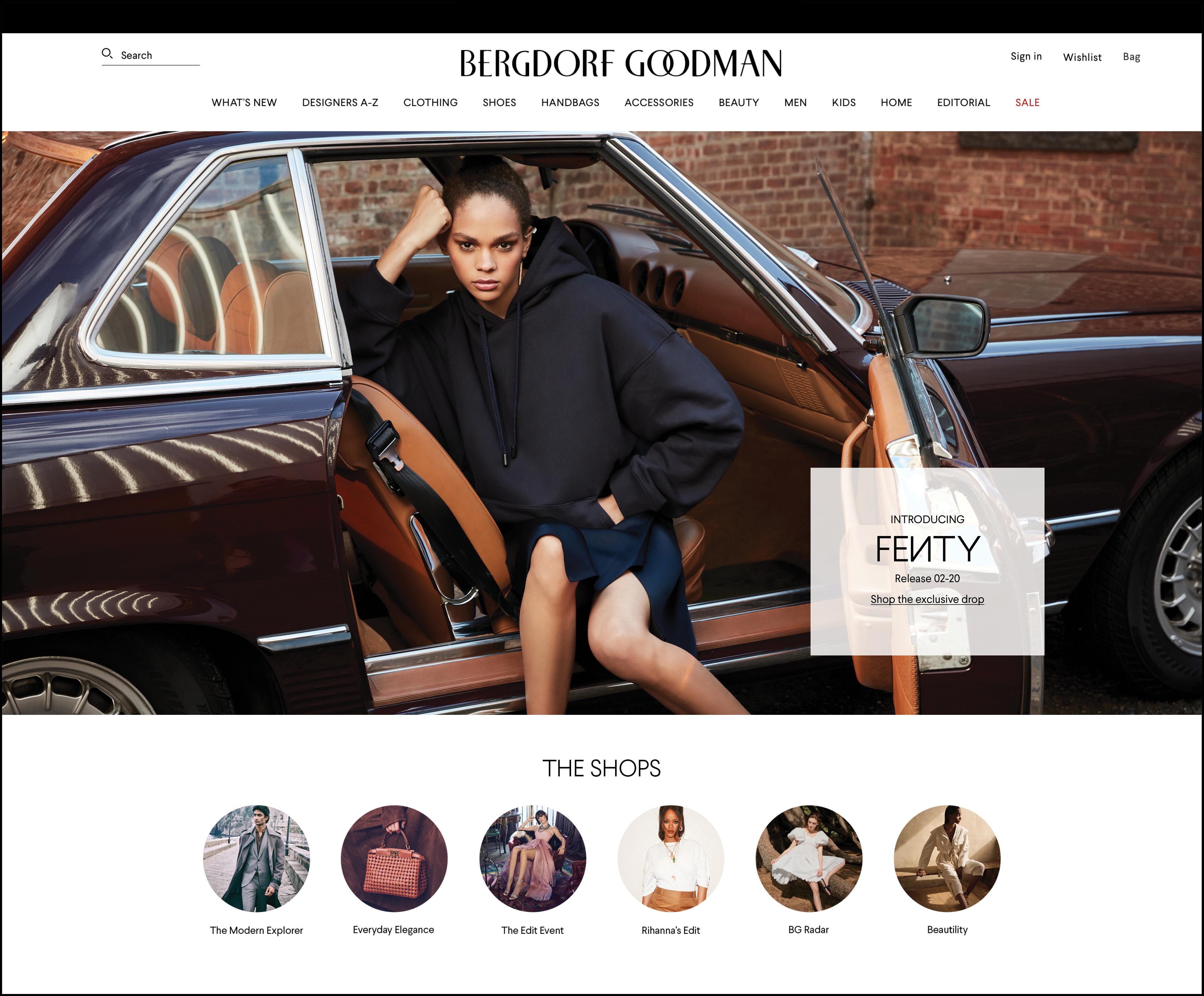 The new bg.com homepage featuring Fenty.
