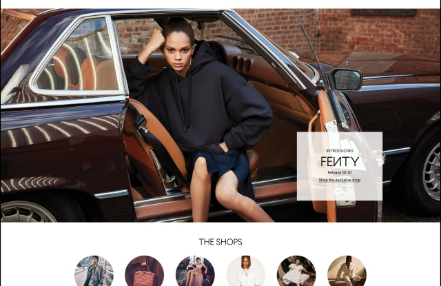 The new bg.com homepage featuring Fenty.