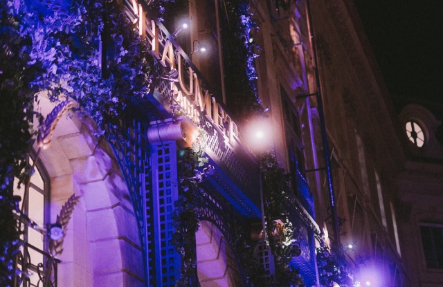 The facade of Chaumet's 12 Place Vendôme flagship lit up for inauguration festivities.