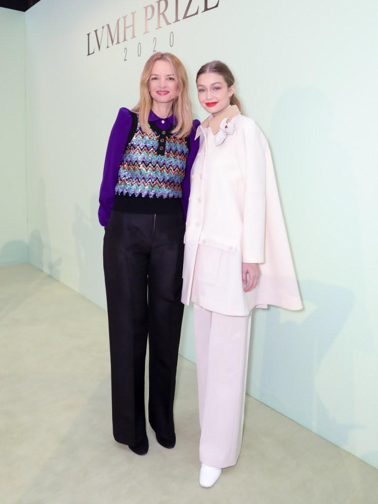 20-02-27_LVMHDelphine Arnault and Gigi Hadid at the LVMH Prize showroom.