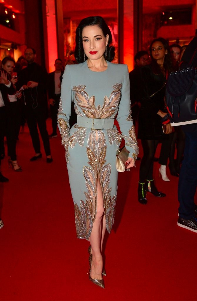 Dita Von Teese'Exhibitioniste' exhibition opening at Palais Doree, Paris, France - 24 Feb 2020Christian Louboutin's 'Exhibitioniste' features work from his collections. Wearing Elie Saab Same Outfit as catwalk model *10532151bg