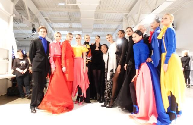 Zang Toi with models at his fall 2020 runway show.