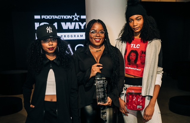Nachae Davis with her winning designs for Footaction.