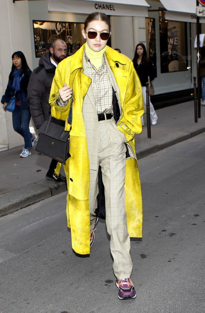 Gigi Hadid on her way to fittings at ChanelGigi Hadid out and about, Paris Fashion Week, France - 24 Feb 2020Wearing Berluti