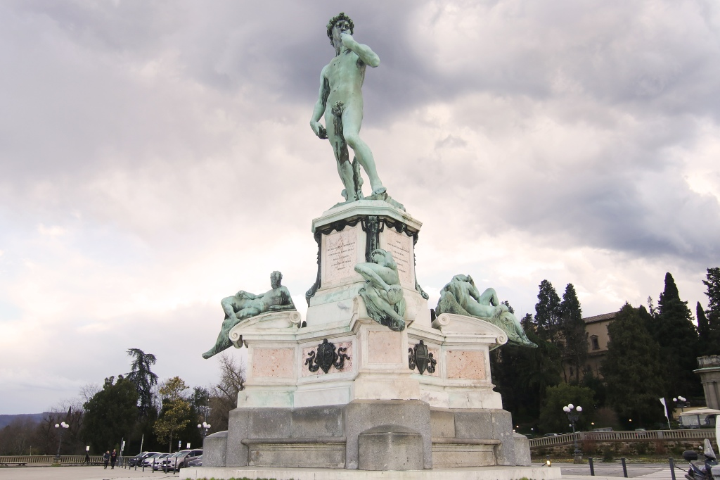 The bronze copy of Michelangelo's David, located in the Florentine Piazzale Michelangelo square.