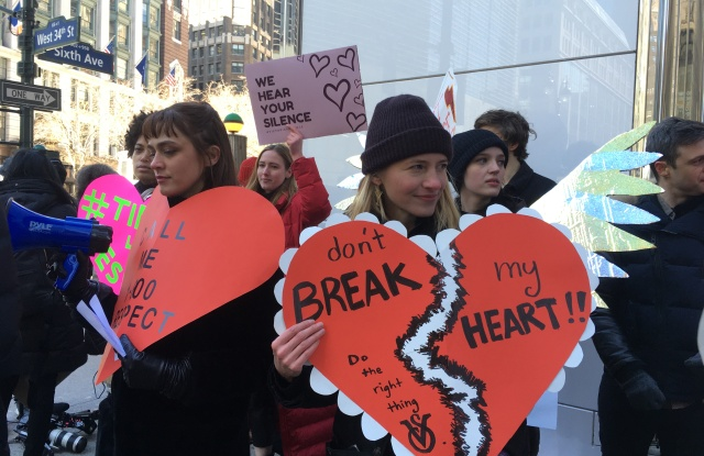 The Model Alliance's founder Sara Ziff, right, at the Victoria's Secret protest.