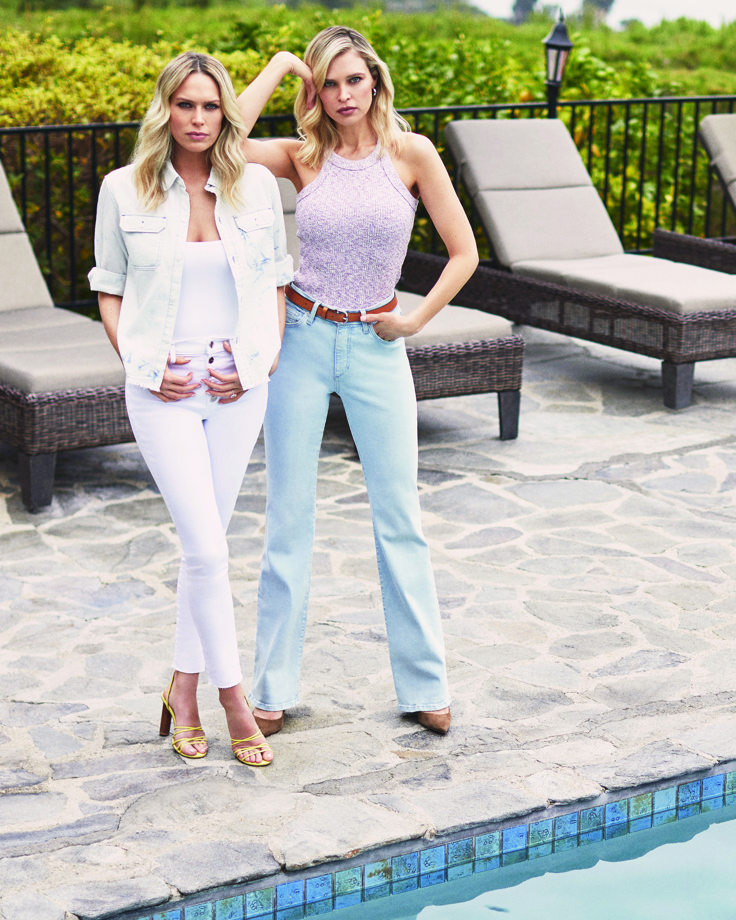 An ad image of Erin and Sara Foster for Joe's Jeans.