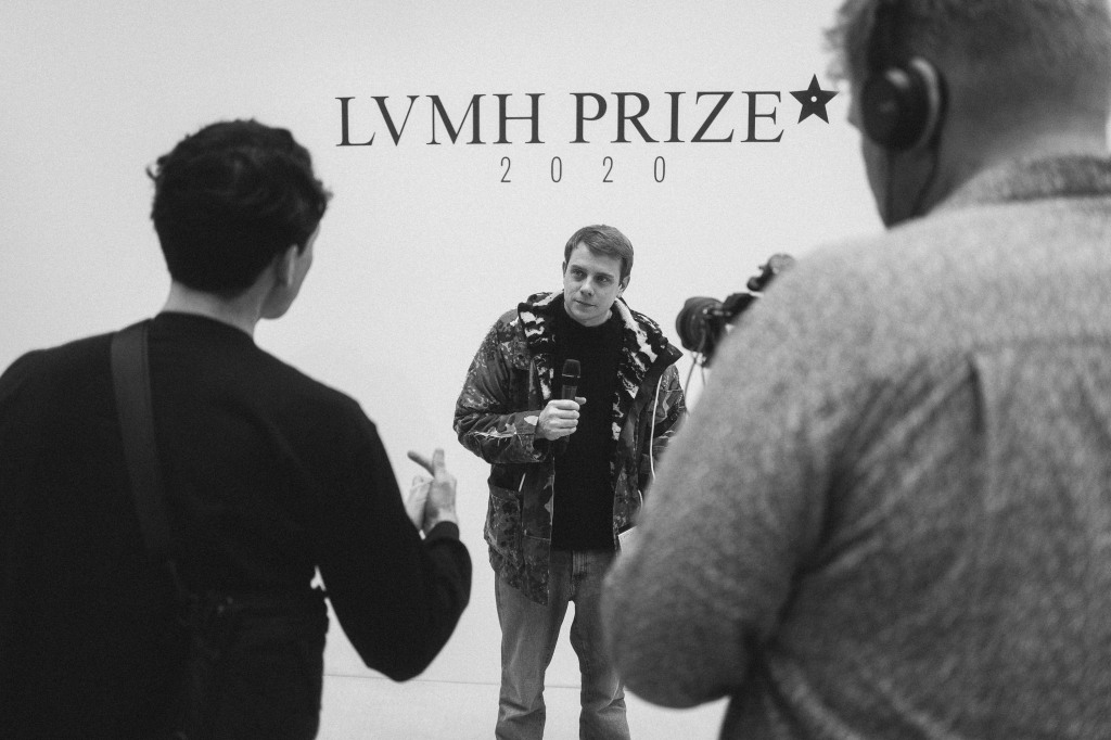 Jonathan Anderson at the LVMH Prize showroom.