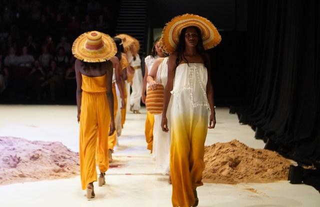 Collaboration collection between MAARA Collective fashion designer Julie Shaw and artists of the Bula'bula Aboriginal Arts Corporation, presented at the Darwin Aboriginal Art Fair, August 7, 2019