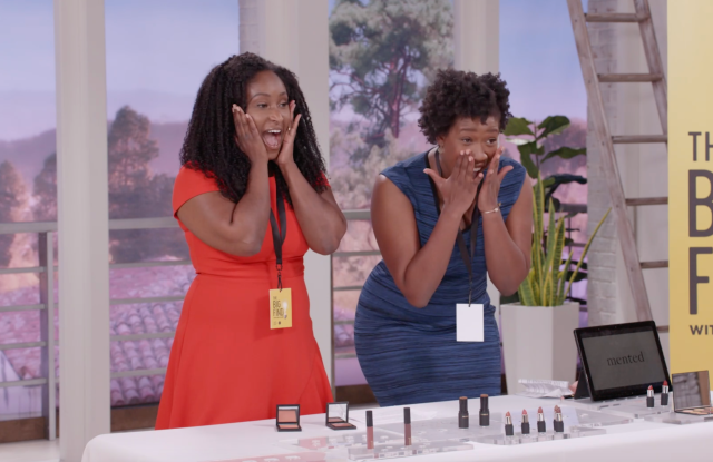 """KJ Miller and Amanda Johnson, founders of Mented Cosmetics, pitching their brand during """"The Big Find."""""""