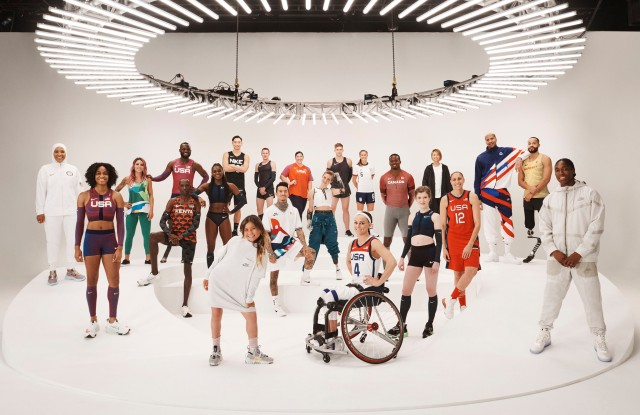 An international group of atheltes joined the Nike 2020 Forum in New York to unveil the brand's latest performance and sustainable innovations.    From left to right: Ibtihaj Muhammad, English Gardner, Leticia Bufoni, Blake Leeper, Timothy Cheruiyot, Dina Asher-Smith, Tomoya Ochiai, Sky Brown, Chris Mosier, Nyjah Huston, DeAnna Price, Bebe Vio, Kevin Mayer, Megan Blunk, Brandi Chastain, Aaron Brown, Sophie Hahn, Aori Nishimura, Diana Taurasi, Miles Chamley-Watson, Leon Schaefer and Caster Semenya