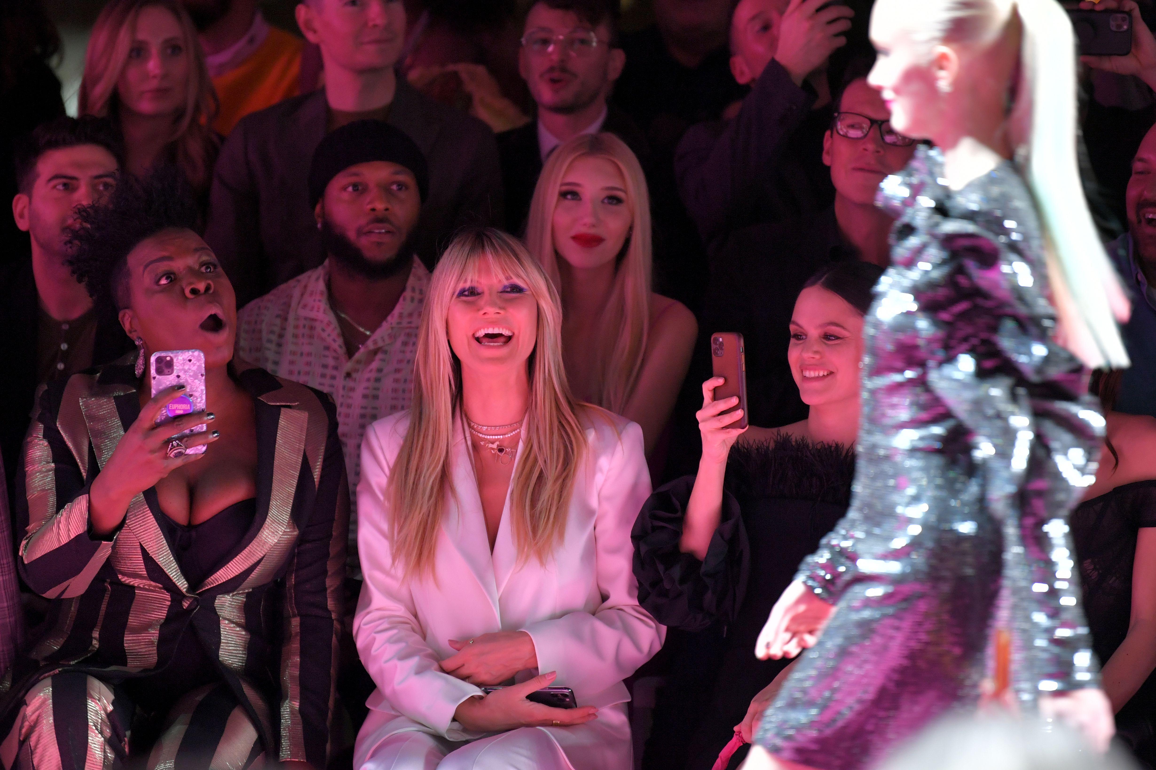 Leslie Jones, Heidi Klum, and Rachel Bilson in the front row Christian Siriano show