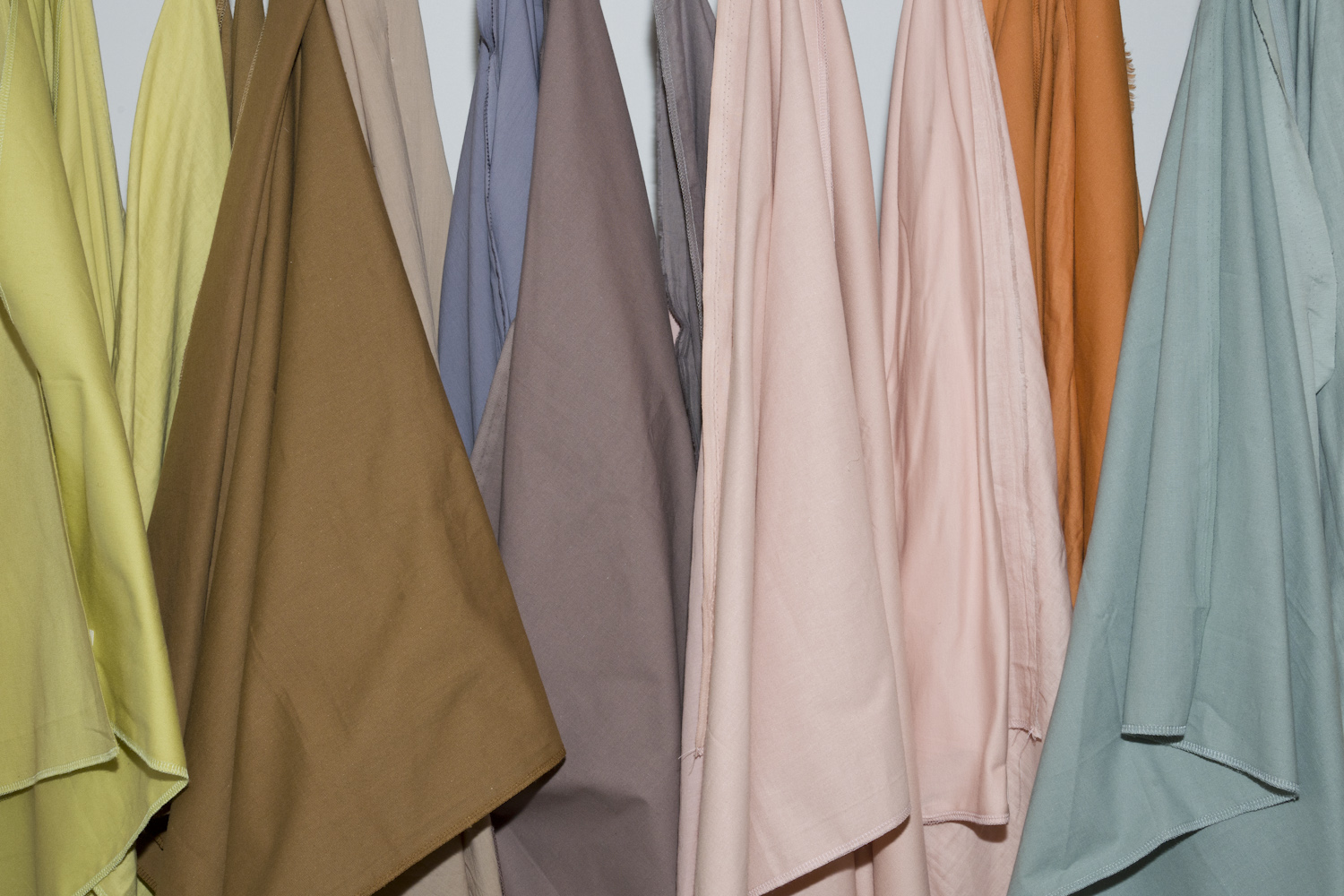Fabrics from Toyoshima's Food Textile Labo textile project, using dyes produced from waste.