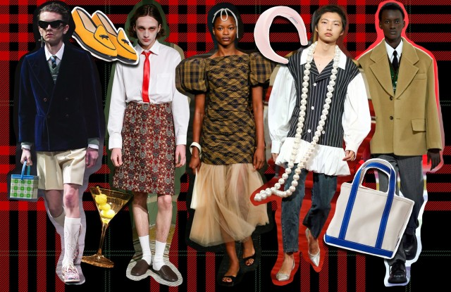 Gucci Men's Fall 2020, Puppets and Puppets Spring 2020, Khaite Spring 2020, Vaquera Spring 2020, and Prada Men's Fall 2020 featured alongside an L.L. Bean tote, a Prada headband and Belgian Shoes.