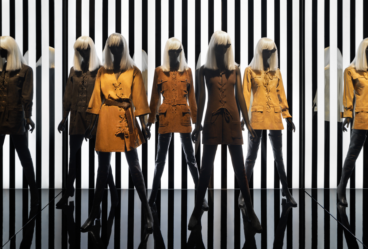 "Outfits in the ""Betty Catroux, Yves Saint Laurent, Feminine Singular"" exhibition at the Yves Saint Laurent Museum in Paris."