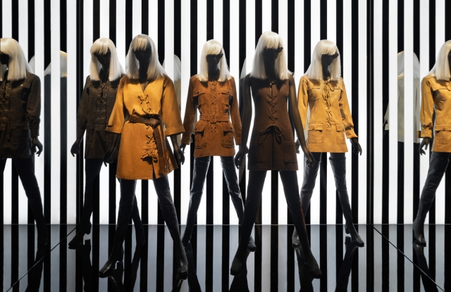 """Outfits in the """"Betty Catroux, Yves Saint Laurent, Feminine Singular"""" exhibition at the Yves Saint Laurent Museum in Paris."""