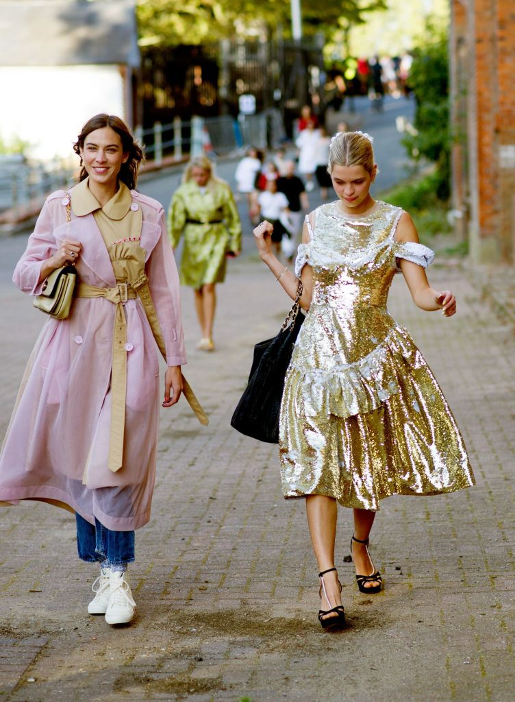 Alexa Chung with Pixie Geldof arriving for Simone Rocha fashion show, Alexander Palace, London.Street Style, Spring Summer 2020, London Fashion Week, UK - 15 Sep 2019